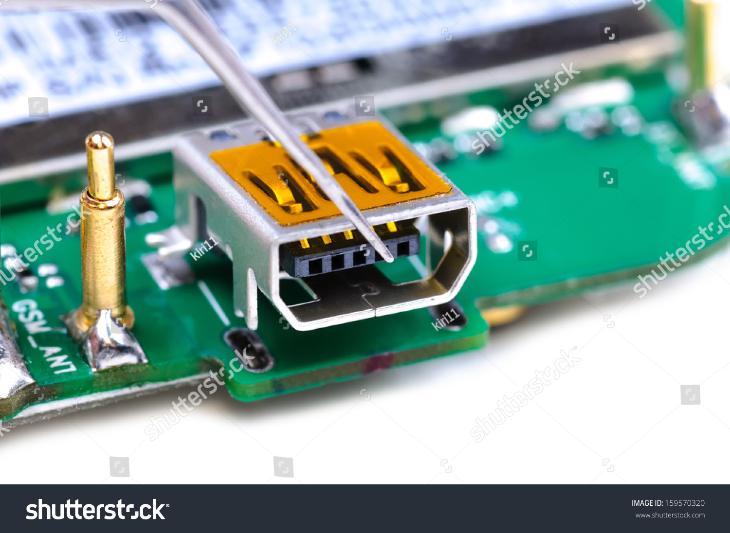 Electronic Technician Repairs Mini USB Socket Stock Photo (Royalty ...