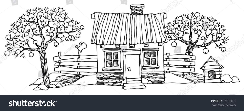 cartoon hand drawing houses stock vector 159578003 shutterstock