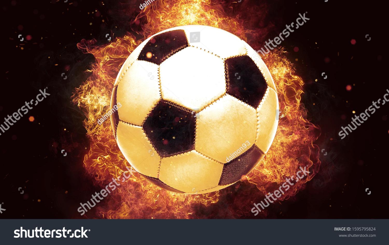 stock photo  d render burning football ball soccer ball fireball wallpaper fire flames background fireball 1595795824