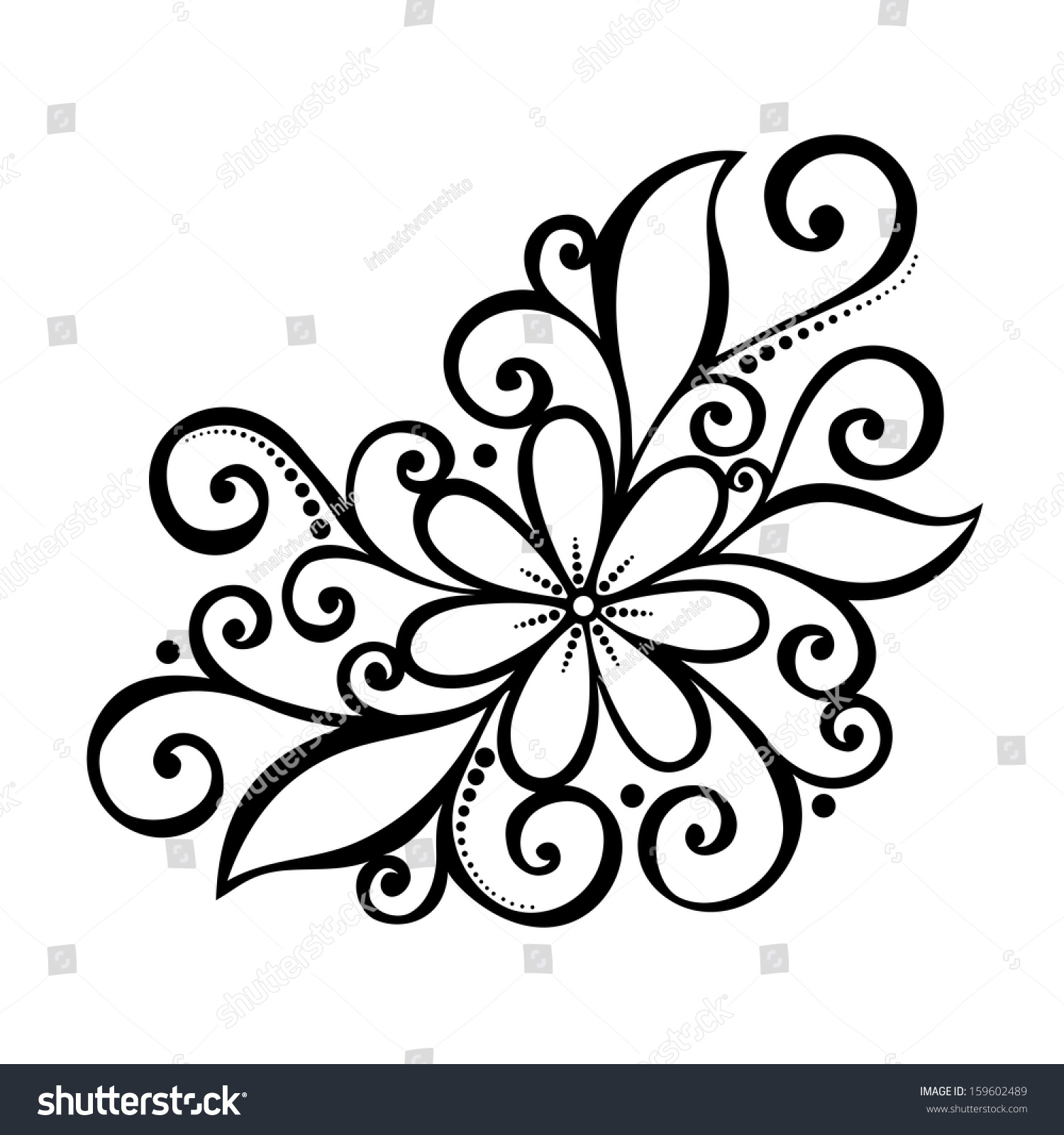 beautiful decorative flower with leaves vector patterned design beautiful decorative flower leaves vector patterned stock - Drawing Design Ideas