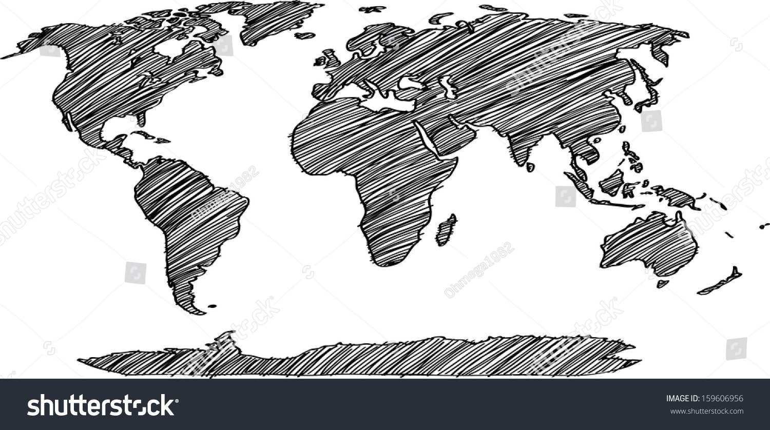 World map earth globe vector line stock vector 159606956 world map earth globe vector line sketched up illustrator eps 10 gumiabroncs Gallery