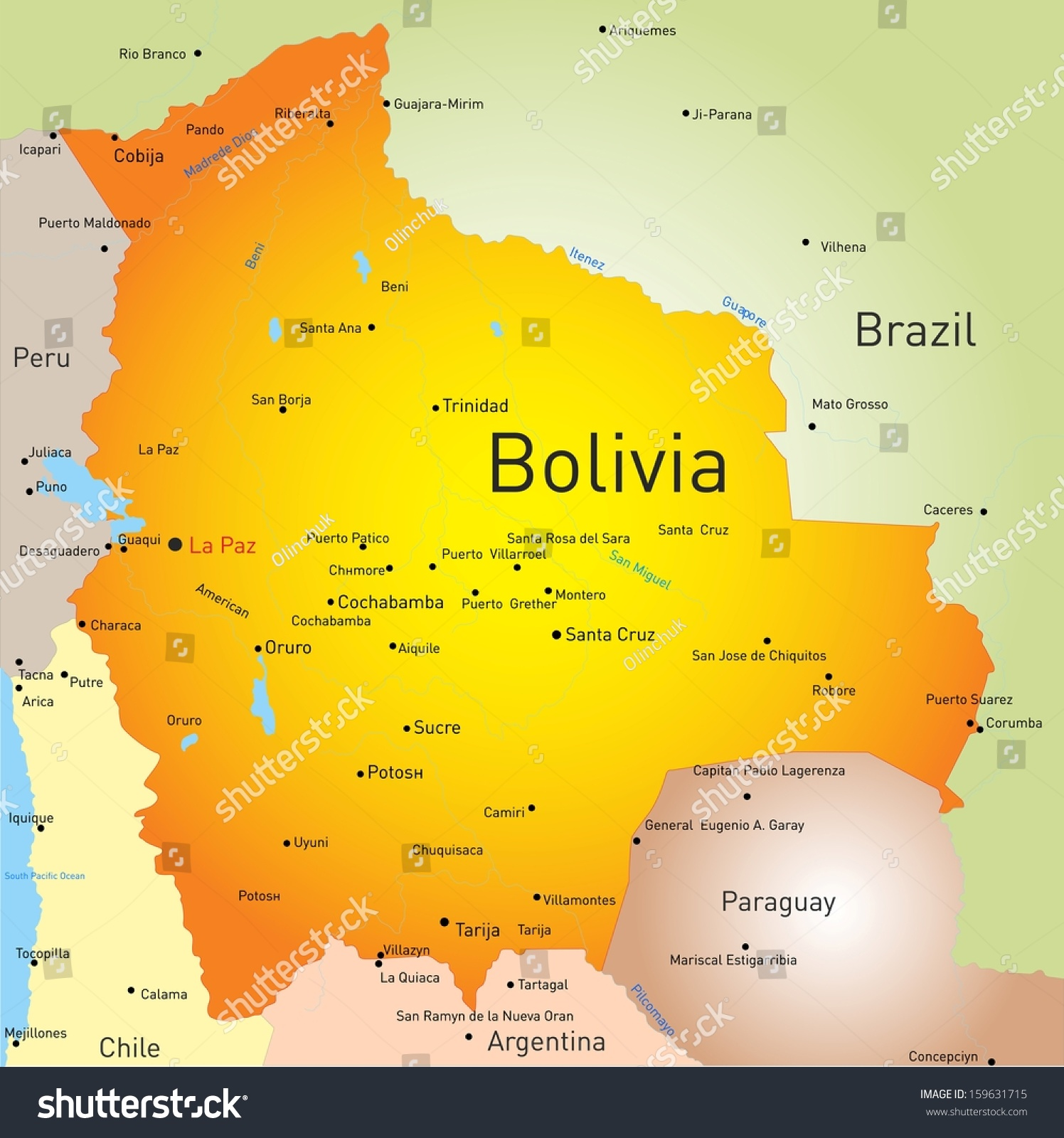 Vector Color Map Bolivia Country Stock Vector Shutterstock - Map of bolivia