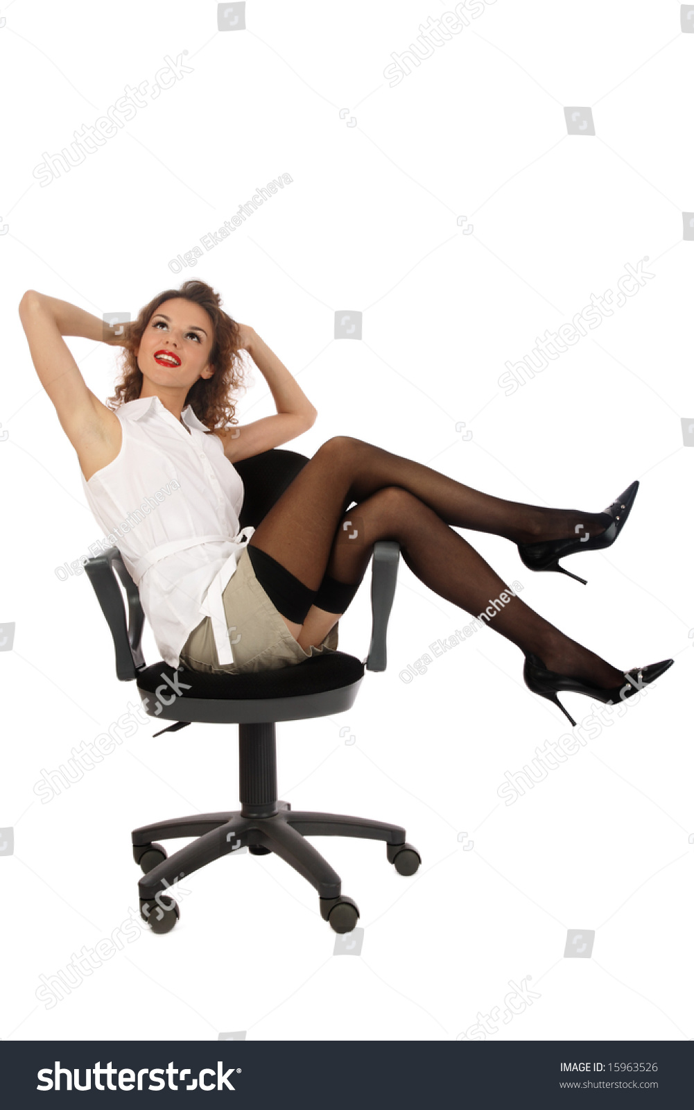 pretty slim young girl stockings stilettos stock photo 15963526