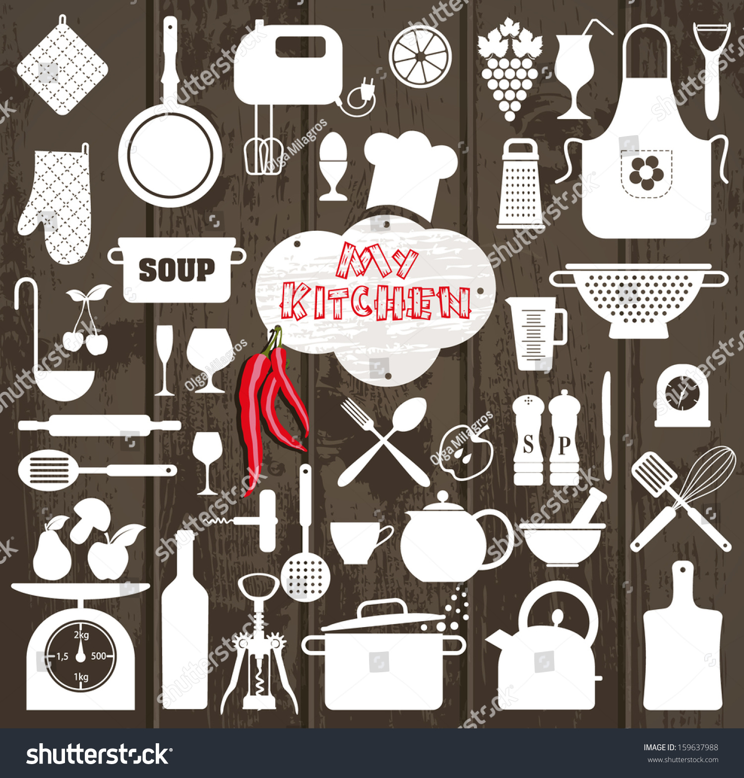 Kitchen set icon stock vector 159637988 shutterstock for Kitchen set vector