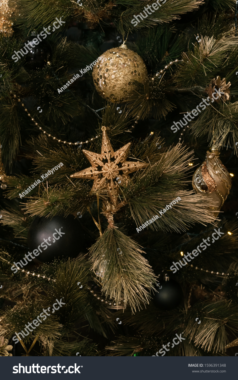 Gold Black Christmas Decorations On Christmas Stock Photo Edit Now 1596391348