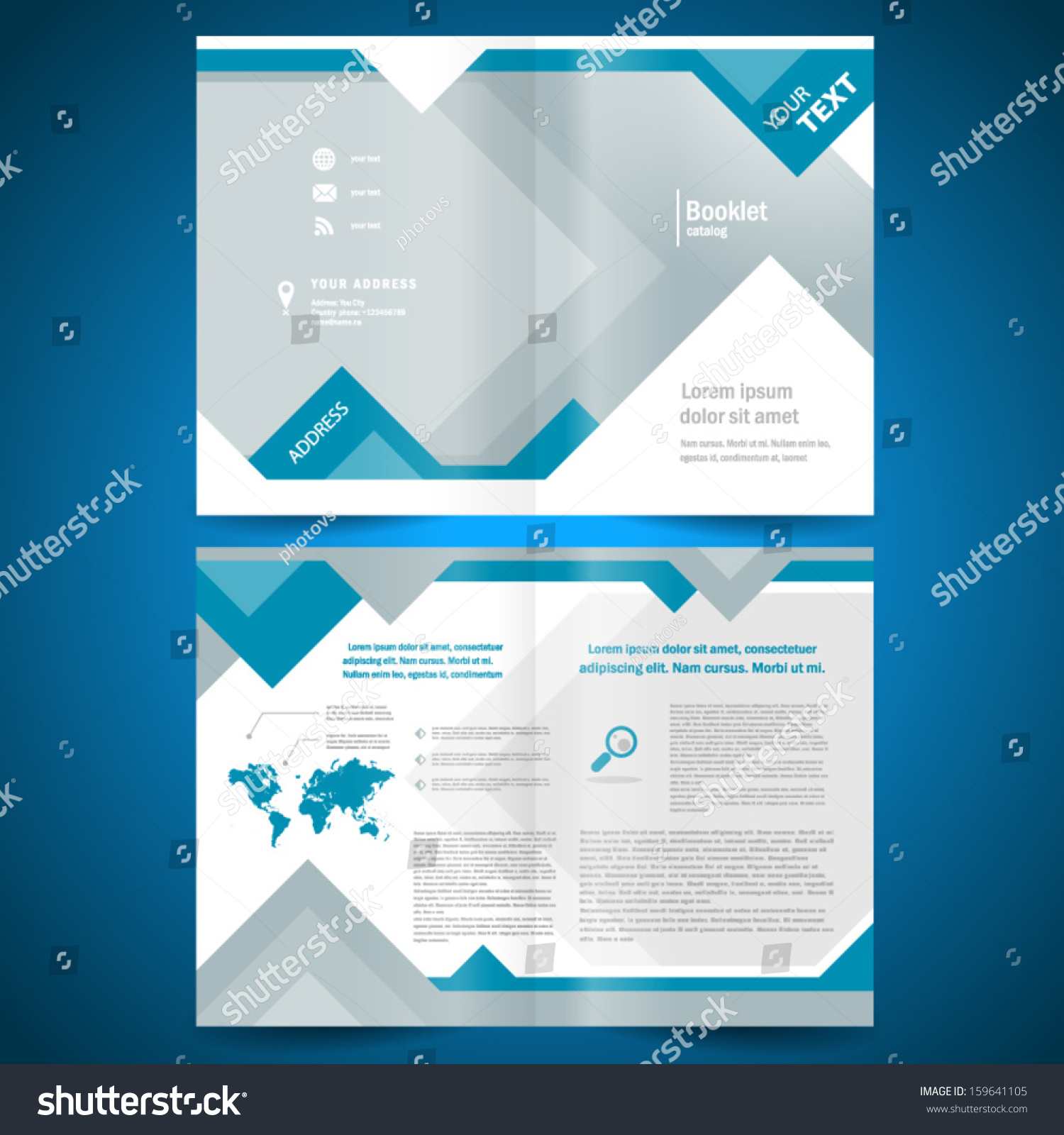 Booklet Template Design Catalog Brochure Folder Geometric Triangle Rhombus  Abstract Element Blue Color Background #159641105  Free Booklet Template