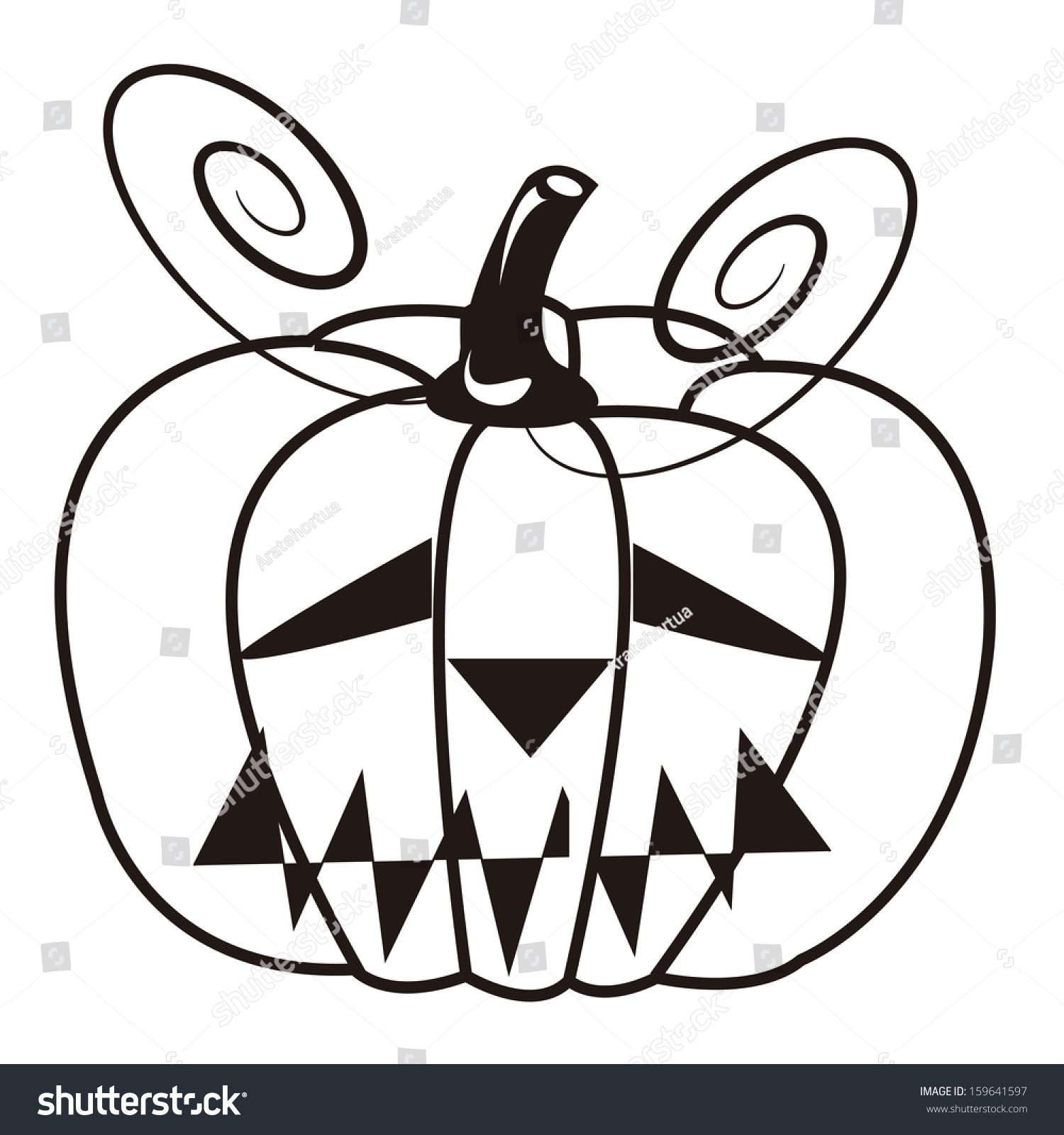 vector cartoon cute black white halloween stock vector 159641597