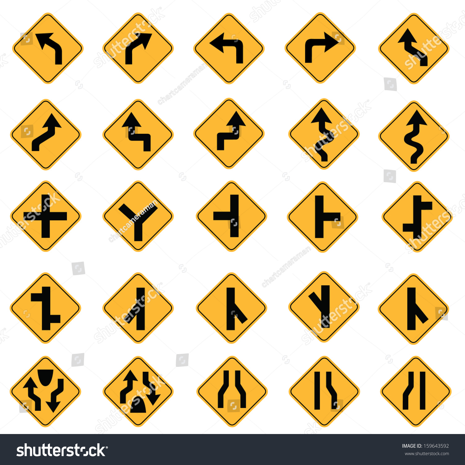 Yellow Road Signs Traffic Signs Vector Stock Vector 159643592 ...