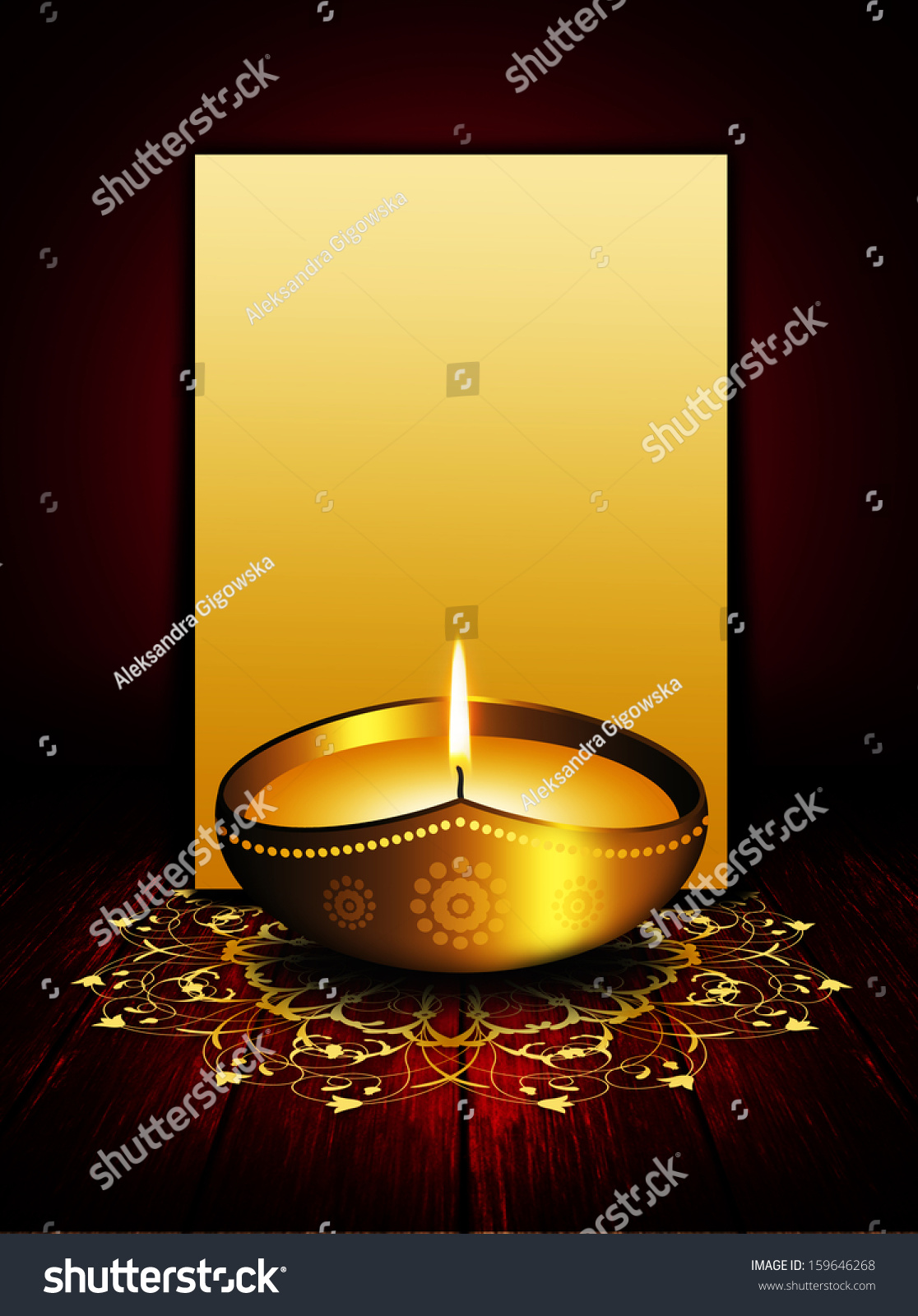 Oil Lamp Place Diwali Greetings Over Stock Illustration 159646268