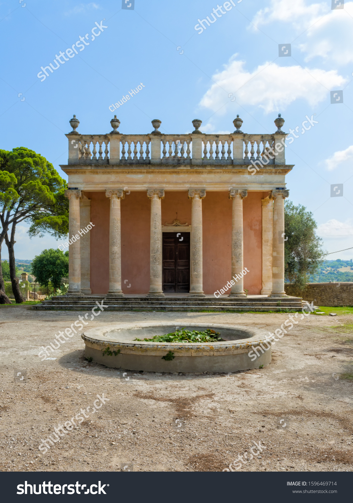 RAGUSA, SICILY, ITALY - SEPTEMBER 20, 2019: ThIs Neoclassical coffee house is in the garden of the Donnafugata Castle which is a popular tourist attraction in Ragusa, Sicily, Italy.