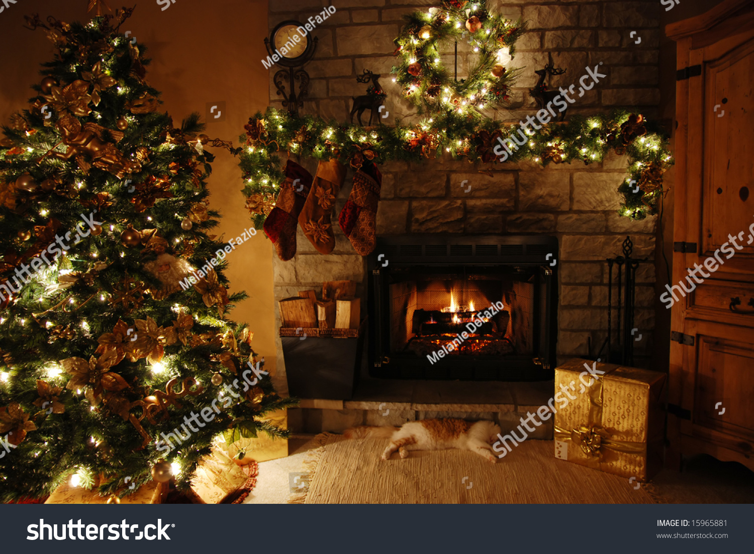 Wonderful Fireplaces In The Dining Room For Cozy And Warm: Warm Cozy Room Fireplacelowlight Stock Photo 15965881