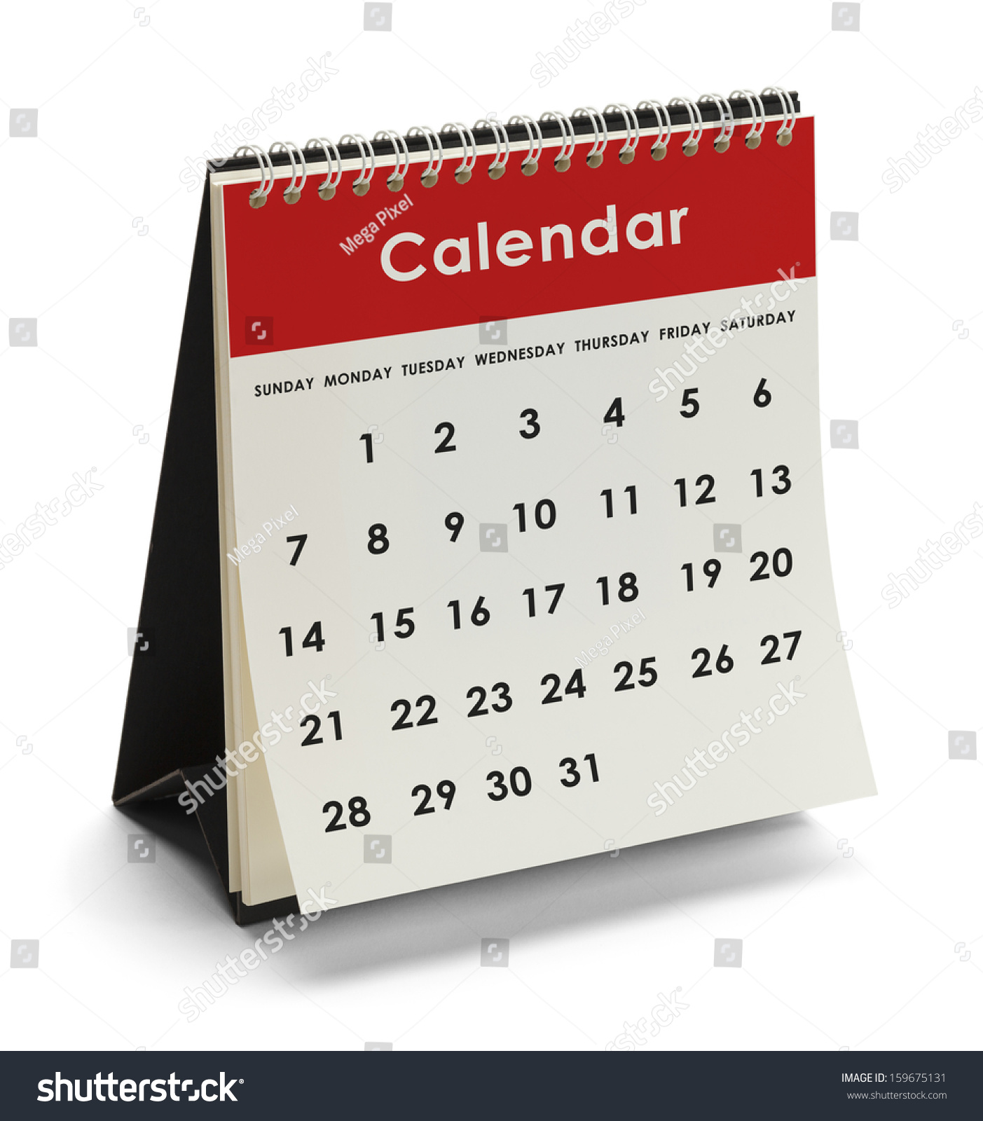 Generic Year Calendar : Generic calendar days dates isolated on stock photo