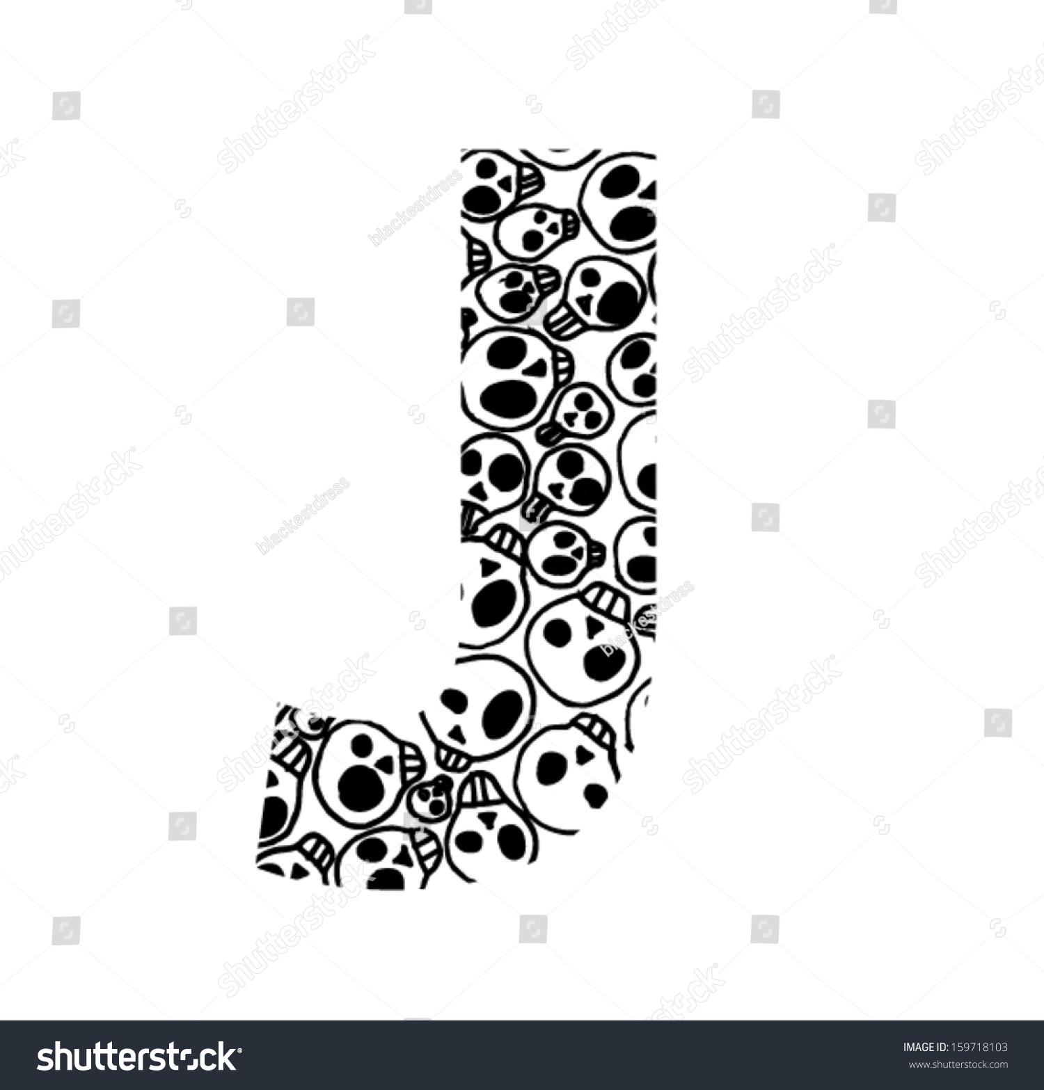 Scary Skull Font Letter J Stock Vector Royalty Free 159718103