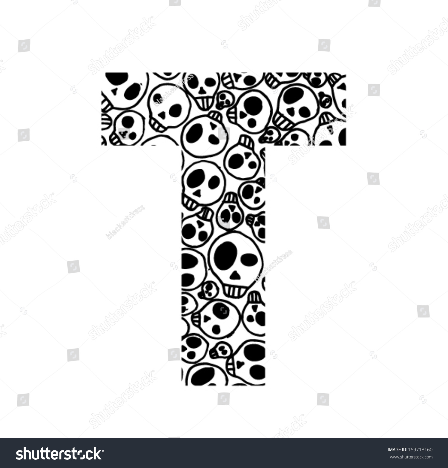 Scary Skull Font Letter T Stock Vector Royalty Free 159718160