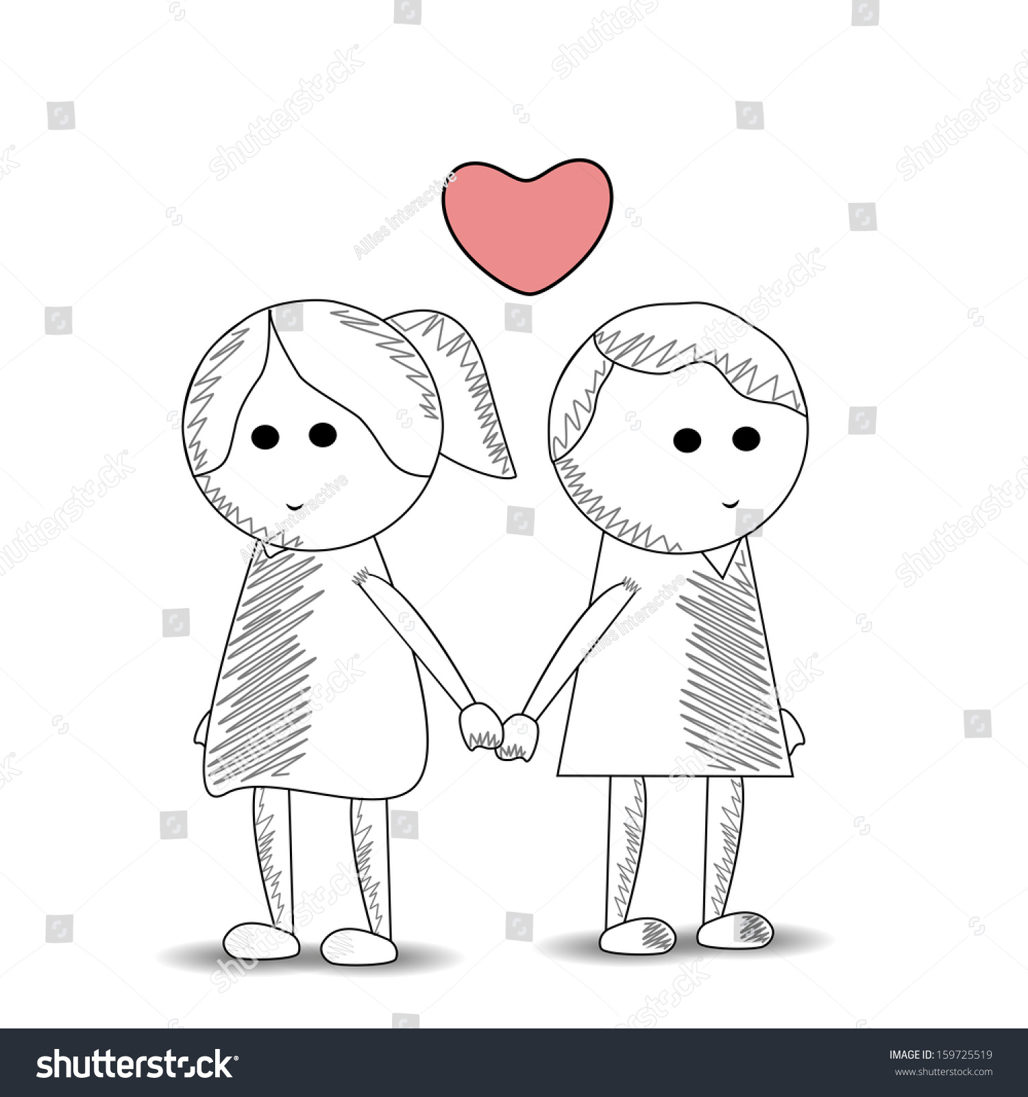 Sketch of cute kids couple holding hands love concept isolated on white