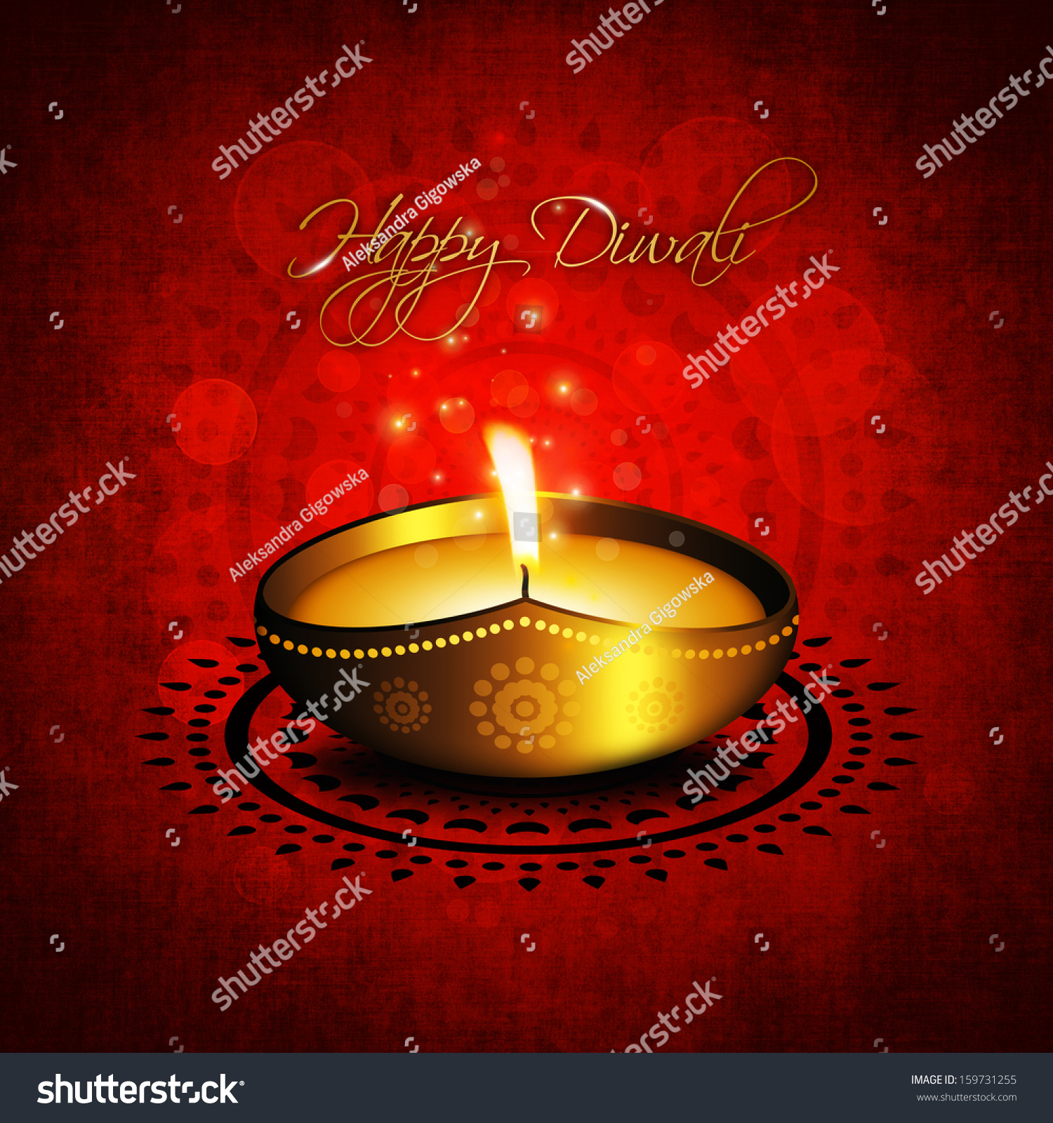 Oil lamp diwali diya greetings over stock illustration 159731255 oil lamp with diwali diya greetings over red background kristyandbryce Image collections