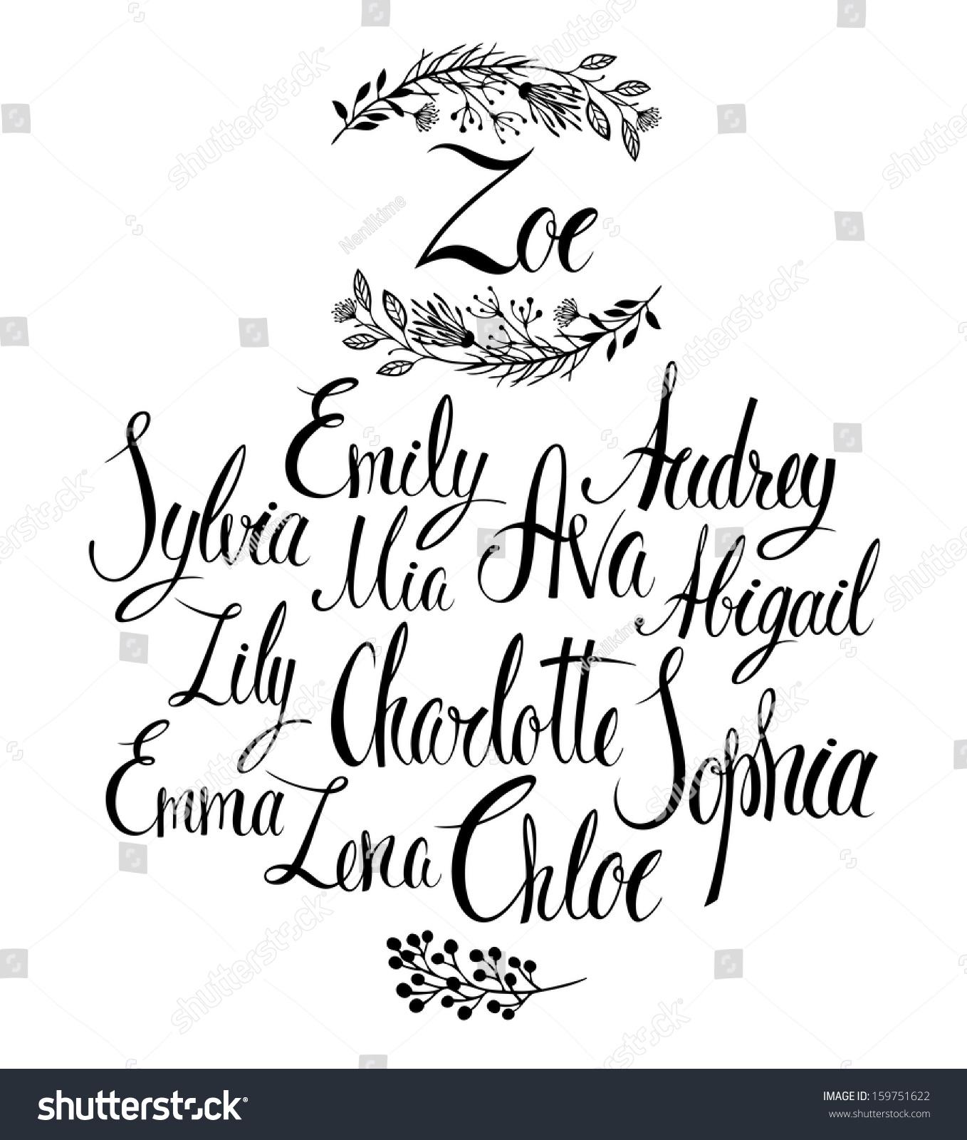 Female Names Popular Names For Girls Calligraphy Stock