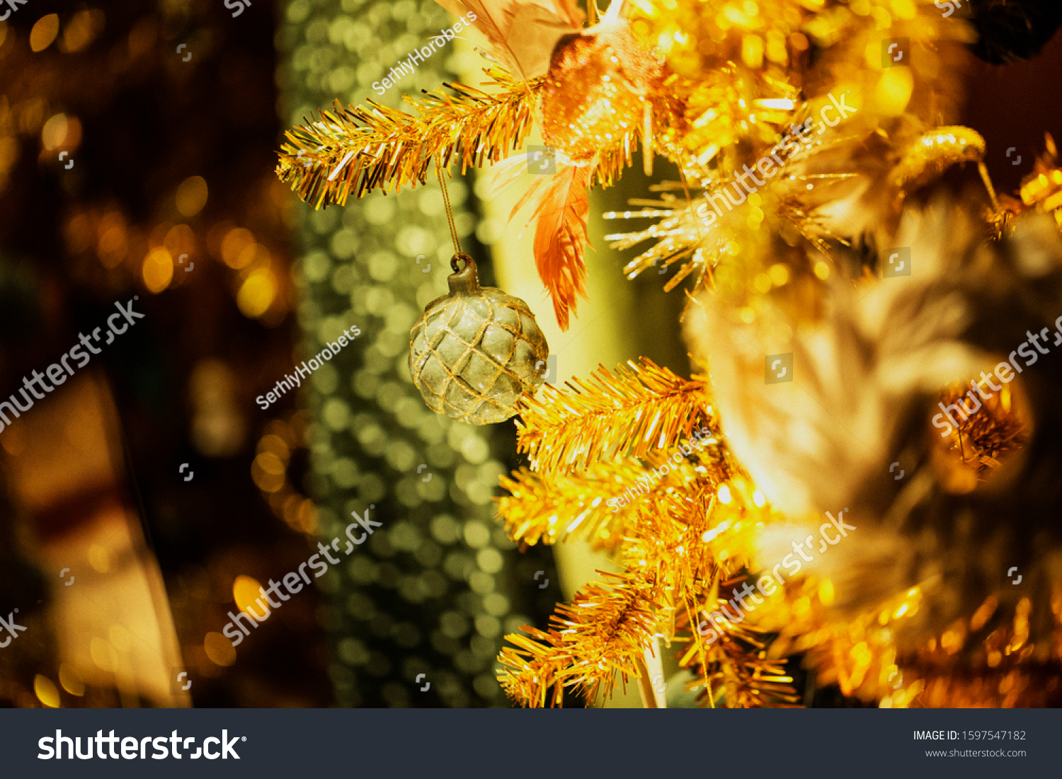 Exquisite Christmas Decorations On Christmas Tree Stock Photo Edit Now 1597547182