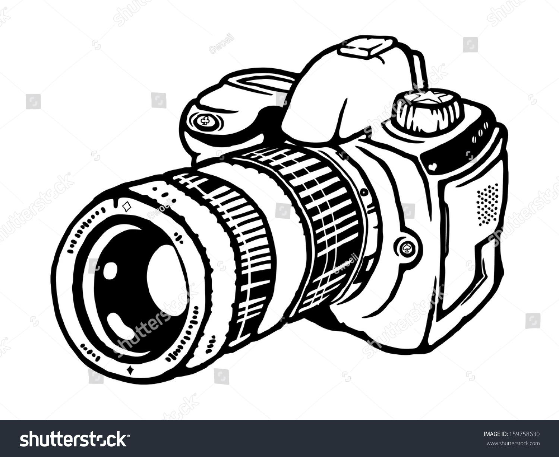 Camera Dslr Camera Cartoon cartoon single lens reflex still photography stock illustration of a camera isolated against white