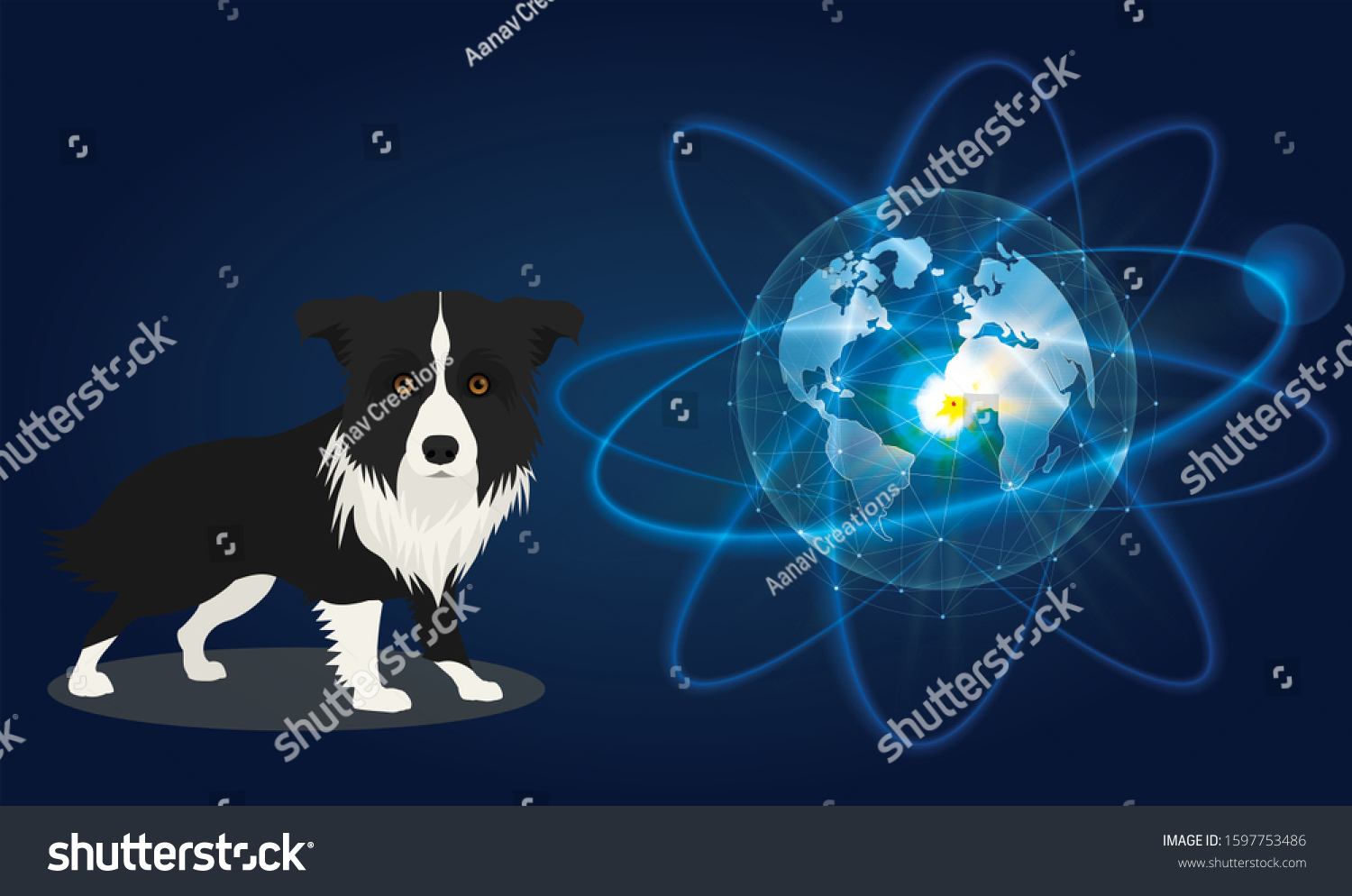 First Dog Went Space Looking Towards Stock Vector Royalty Free
