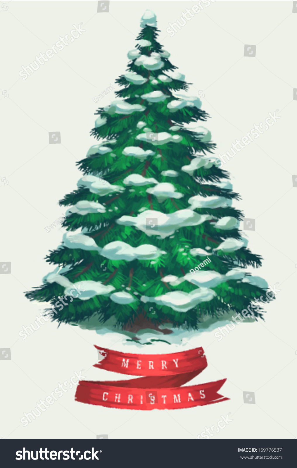 Christmas Tree Art.Vintage Christmas Tree Art Greeting Card Stock Vector