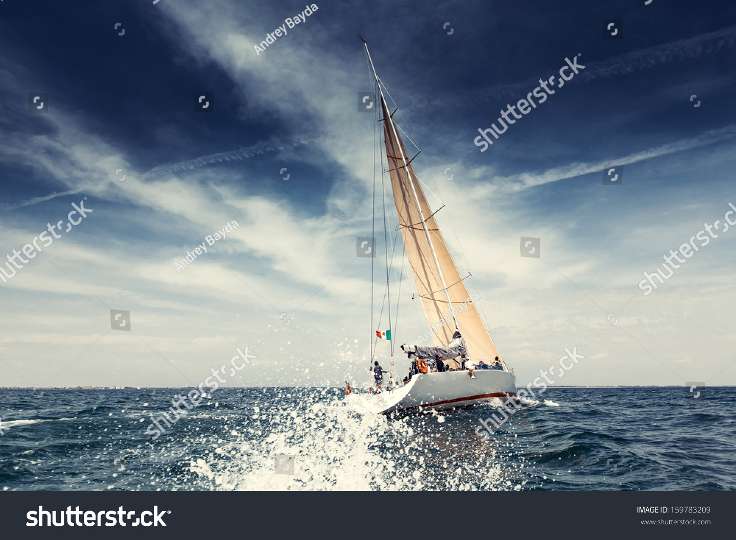 Sailing ship yachts with white sails #159783209