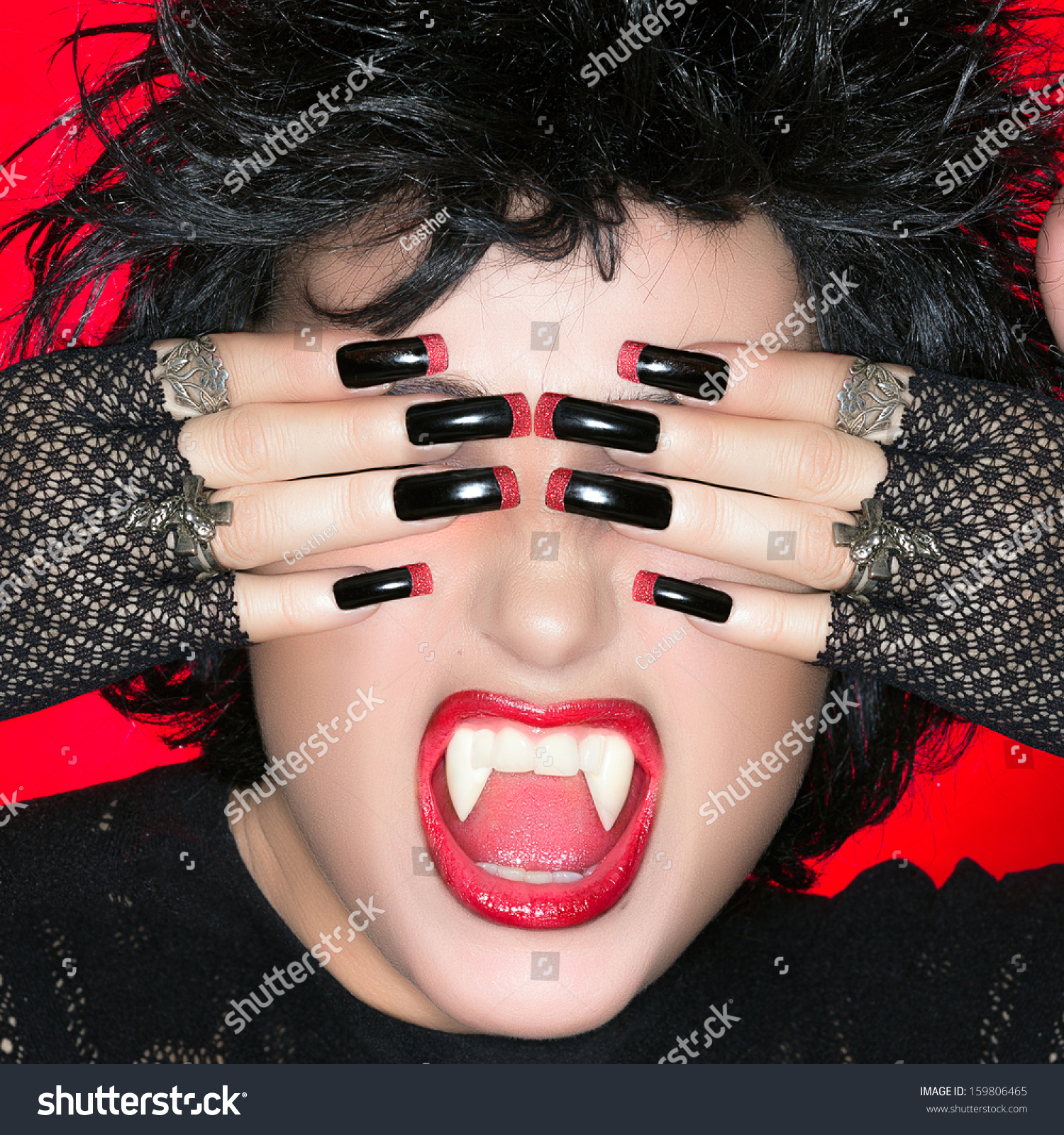 Vampire Teeth Nails Stock Photo Halloween Vampire Beautiful Young Woman Screaming