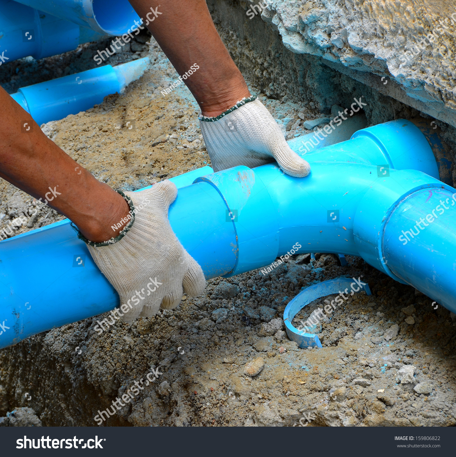 Workers Are Water Pipes With Pvc Joints Elbow Allows The