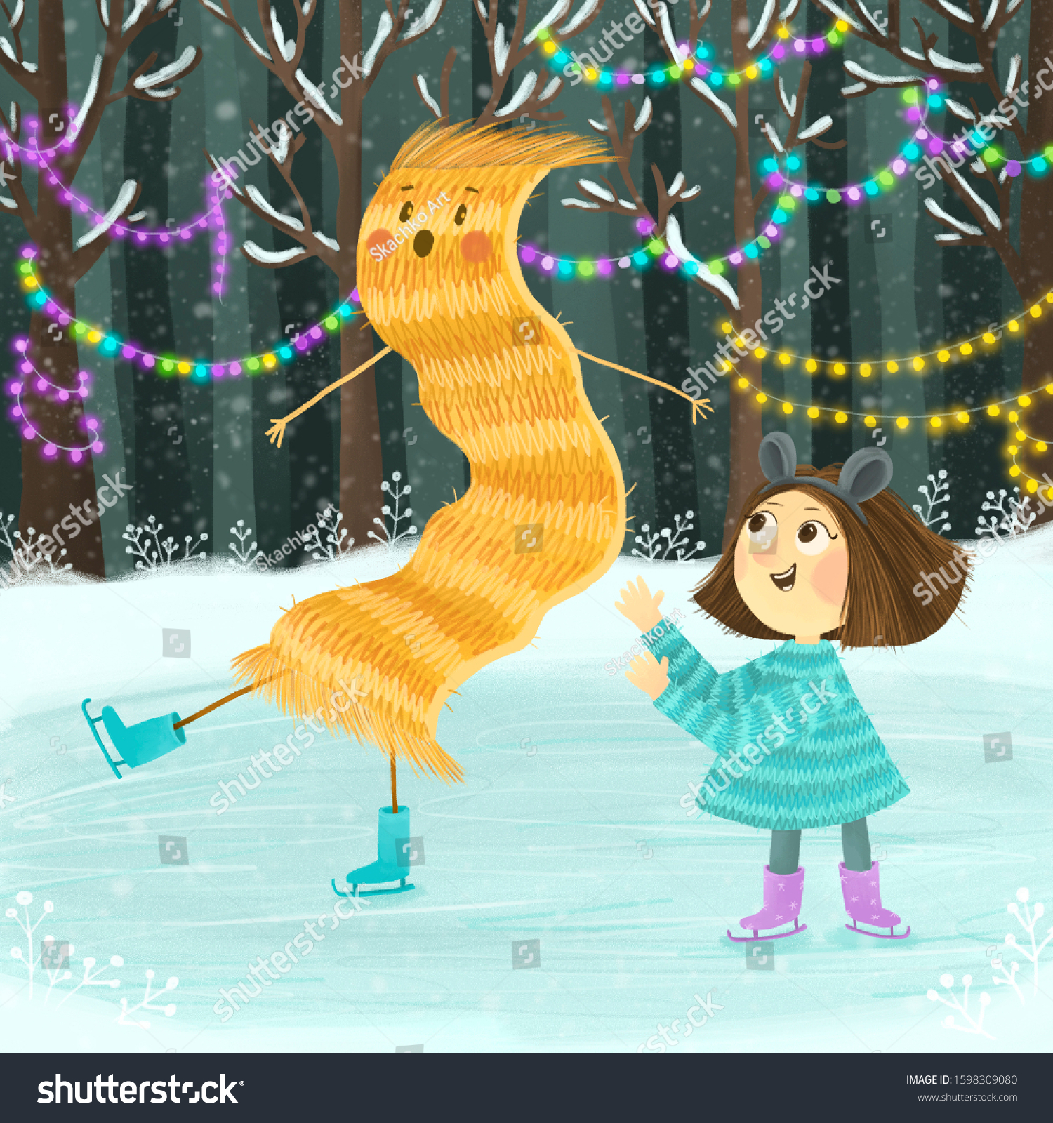 Cute Little Girl Ice Skating Her Stock Illustration 1598309080