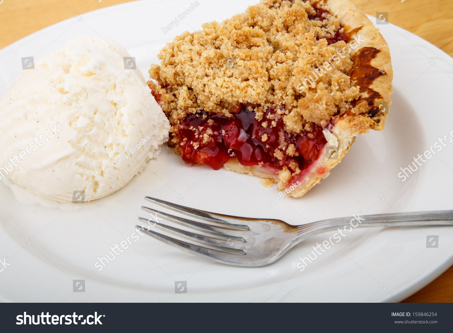 slice of fresh baked cherry pie on a plate with a scoop of vanilla ...
