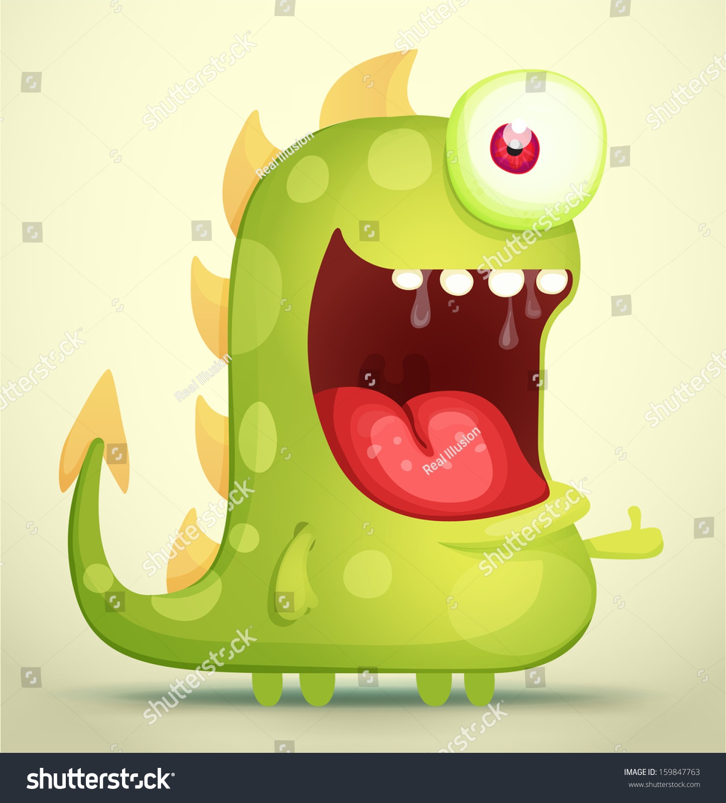 Happy Monster Illustration Happy Monster Stock Ve...