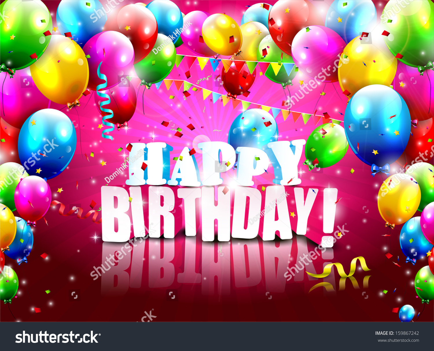 B day poster designs - Realistic Colorful Birthday Poster With Balloons And 3d Text Vector Background