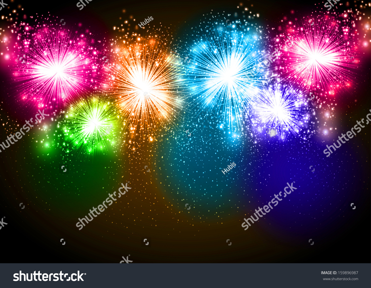 Wallpaper Salute Sky Holiday Colorful 3376x4220: Realistic Vector Fireworks Exploding In The Night Sky