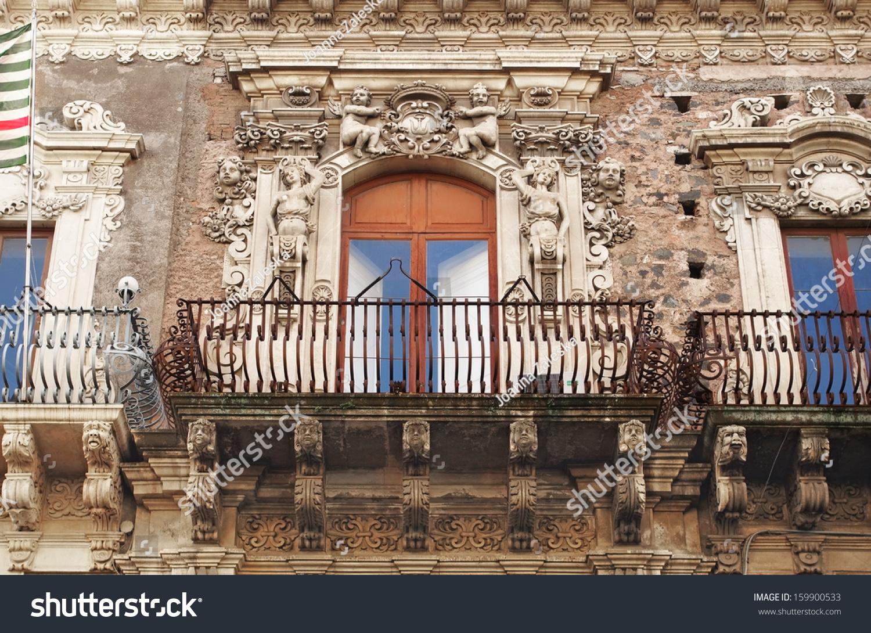 Baroque balcony catania sicily italy stock photo 159900533 for Baroque italien
