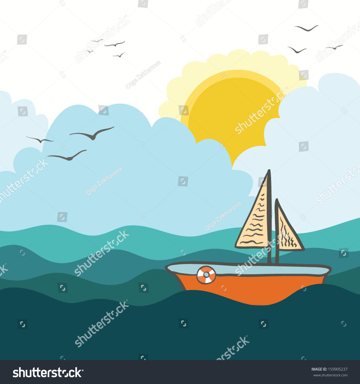 Beautiful And Peaceful Sailing Illustration With Boat