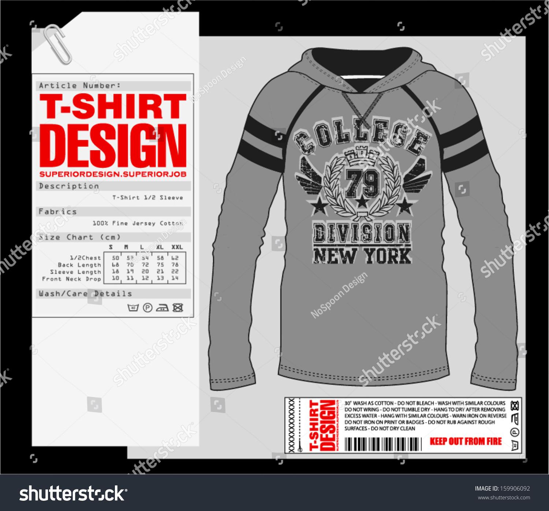 Long Sleeve T Shirt Design Print Design Stock Vector Royalty Free