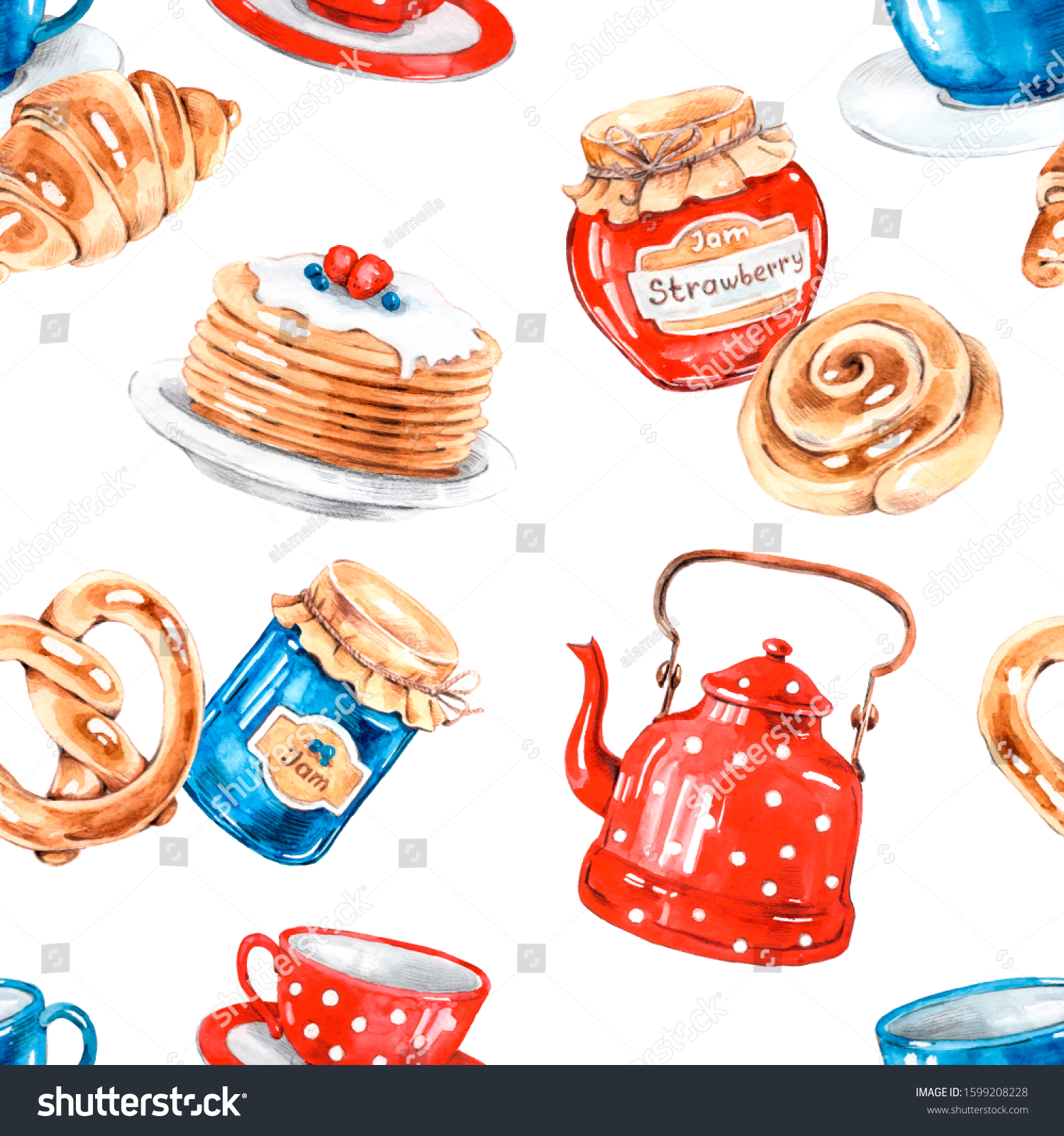 Tea Party Home Baking Kitchen Watercolor Stock Illustration 1599208228