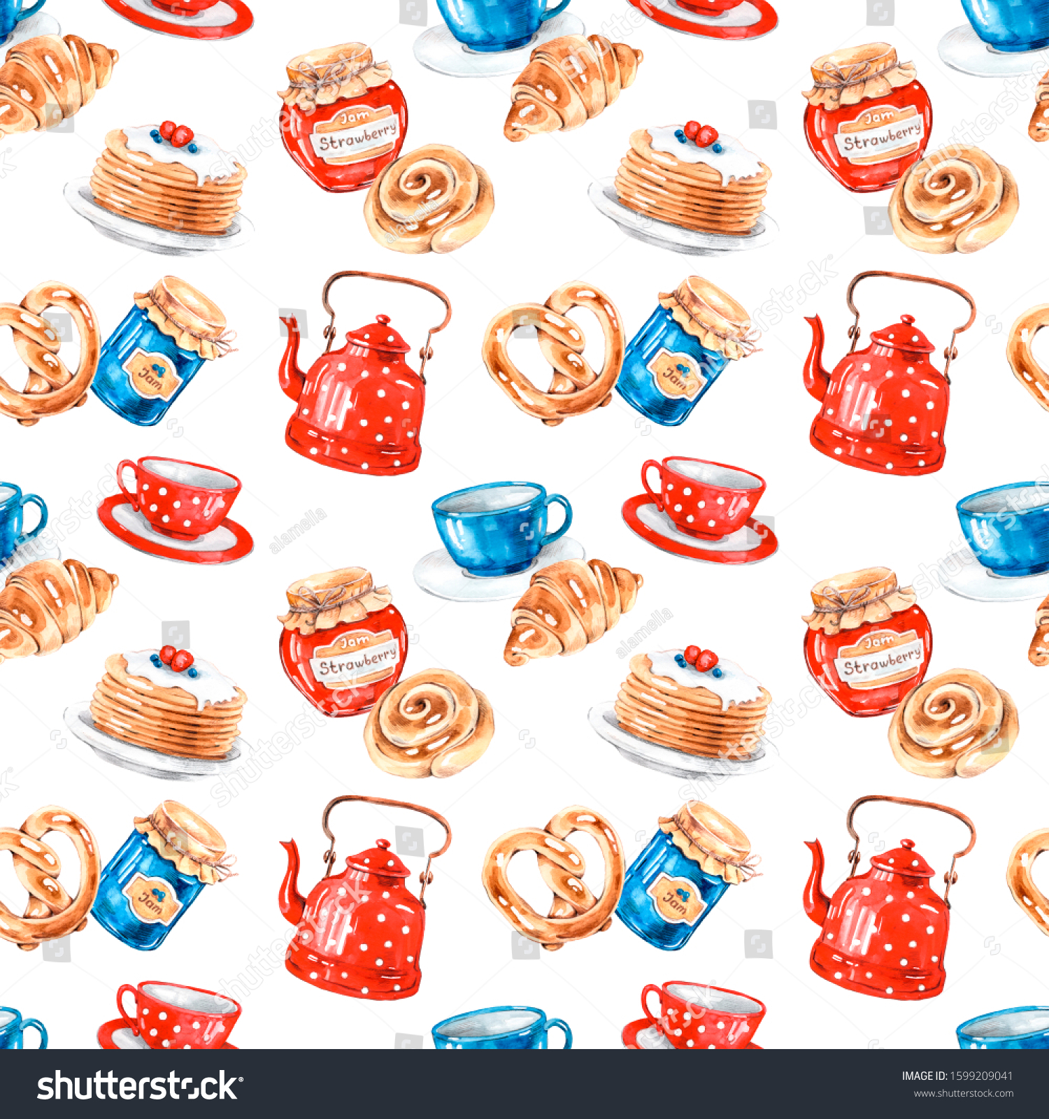 Tea Party Home Baking Kitchen Watercolor Stock Illustration 1599209041