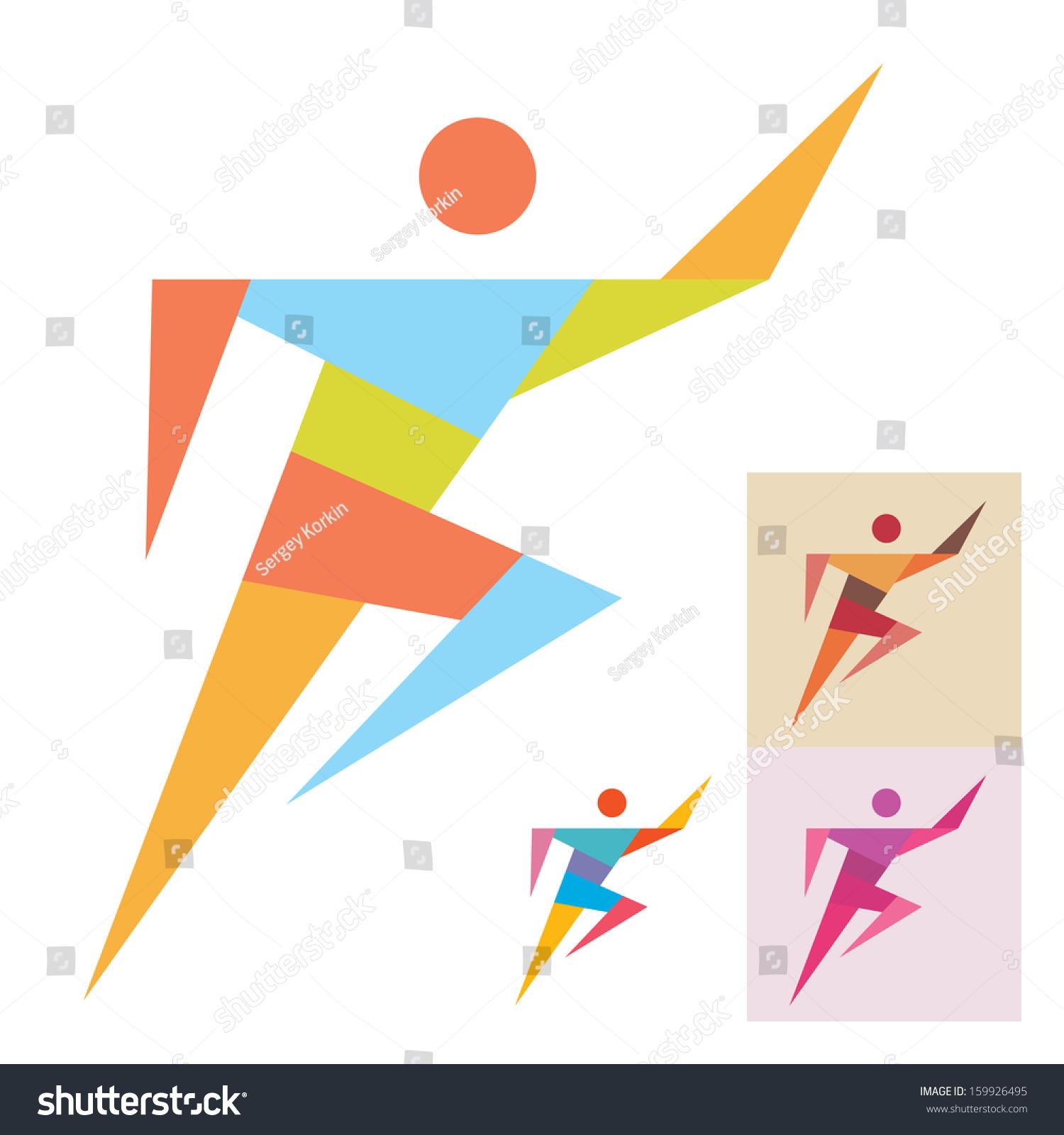 running man vector logo template illustration stock vector