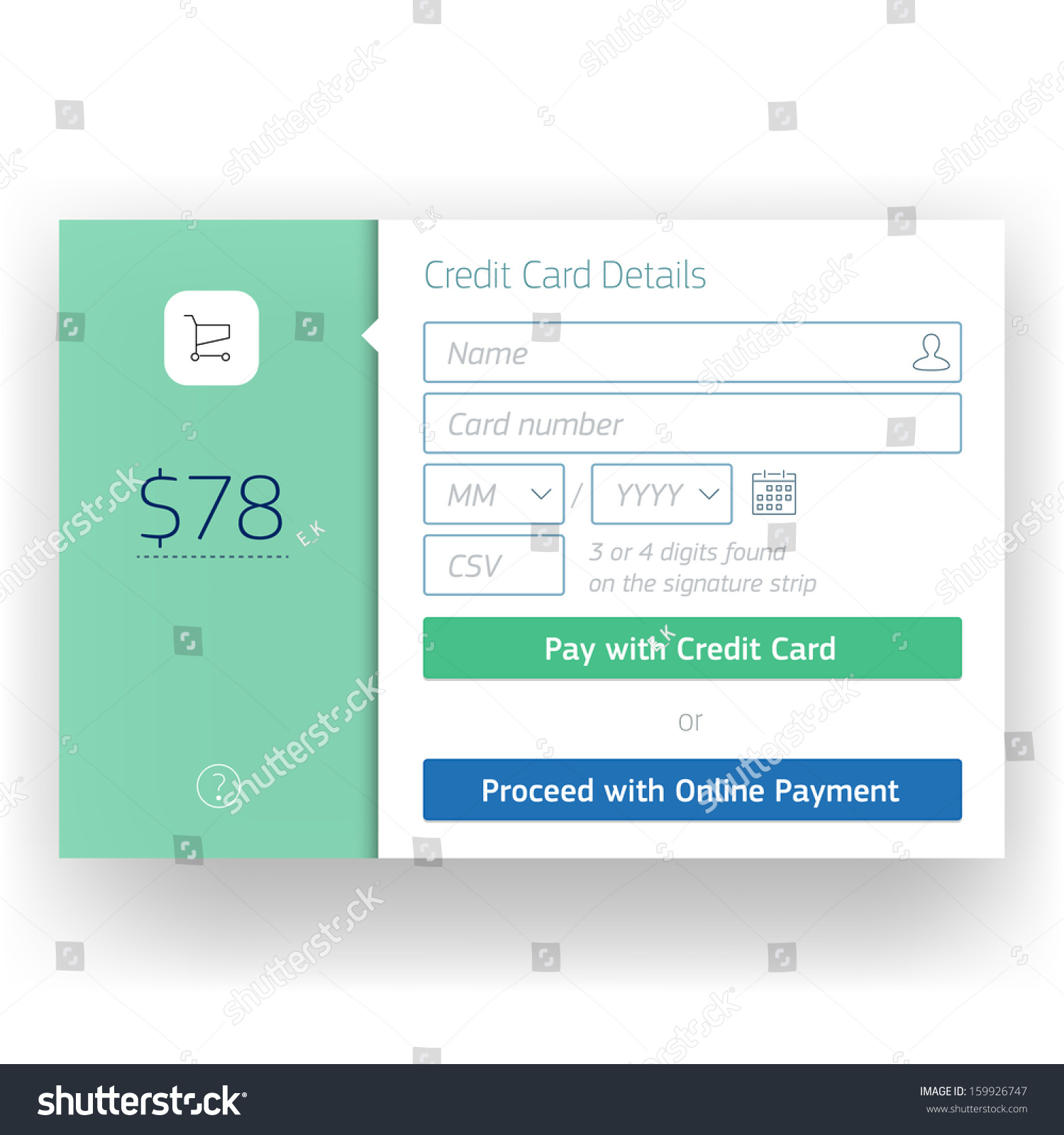 Shopping Cart Check Out Credit Card Stock Vector Royalty Free