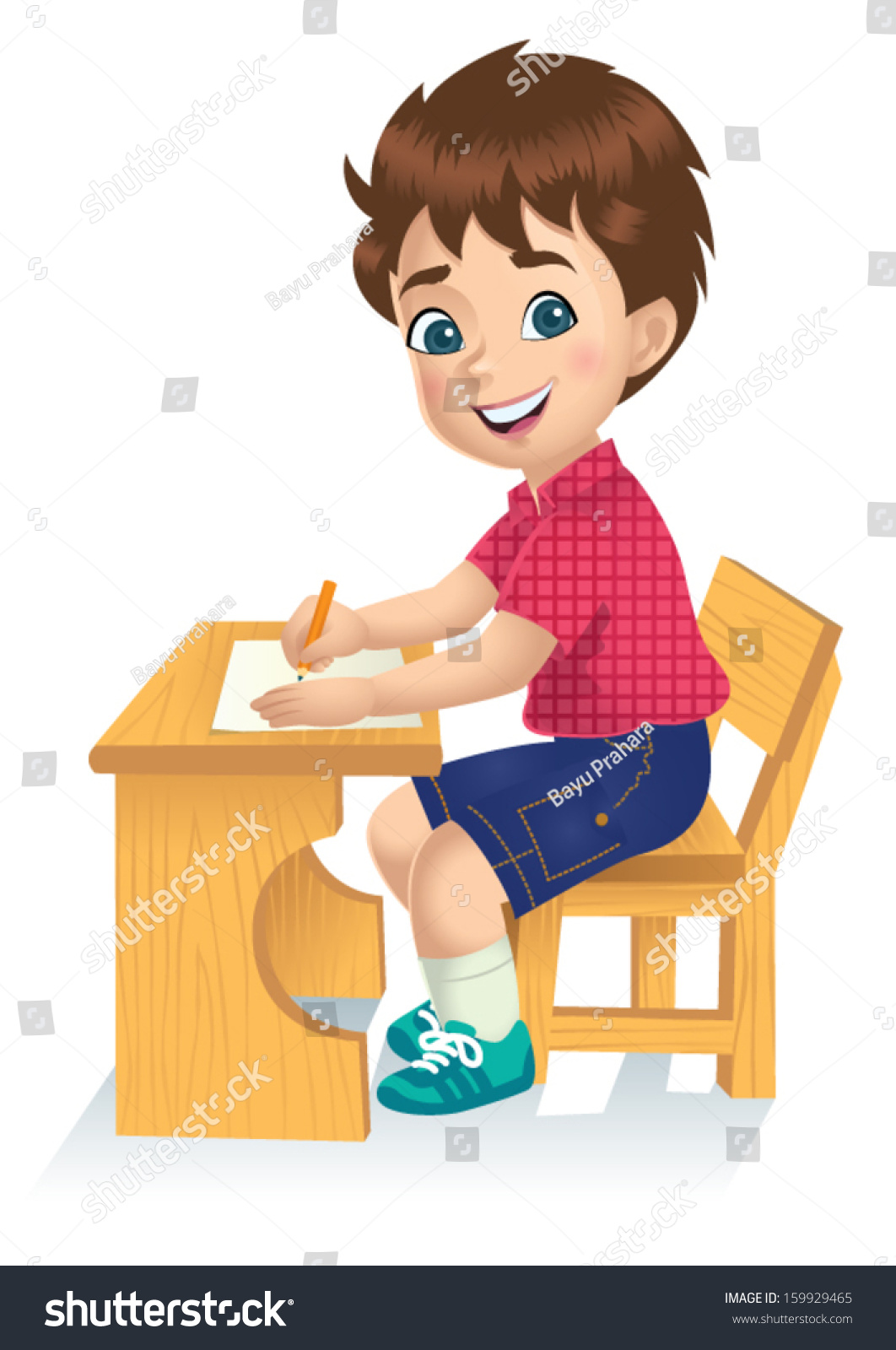 Boy writing animated