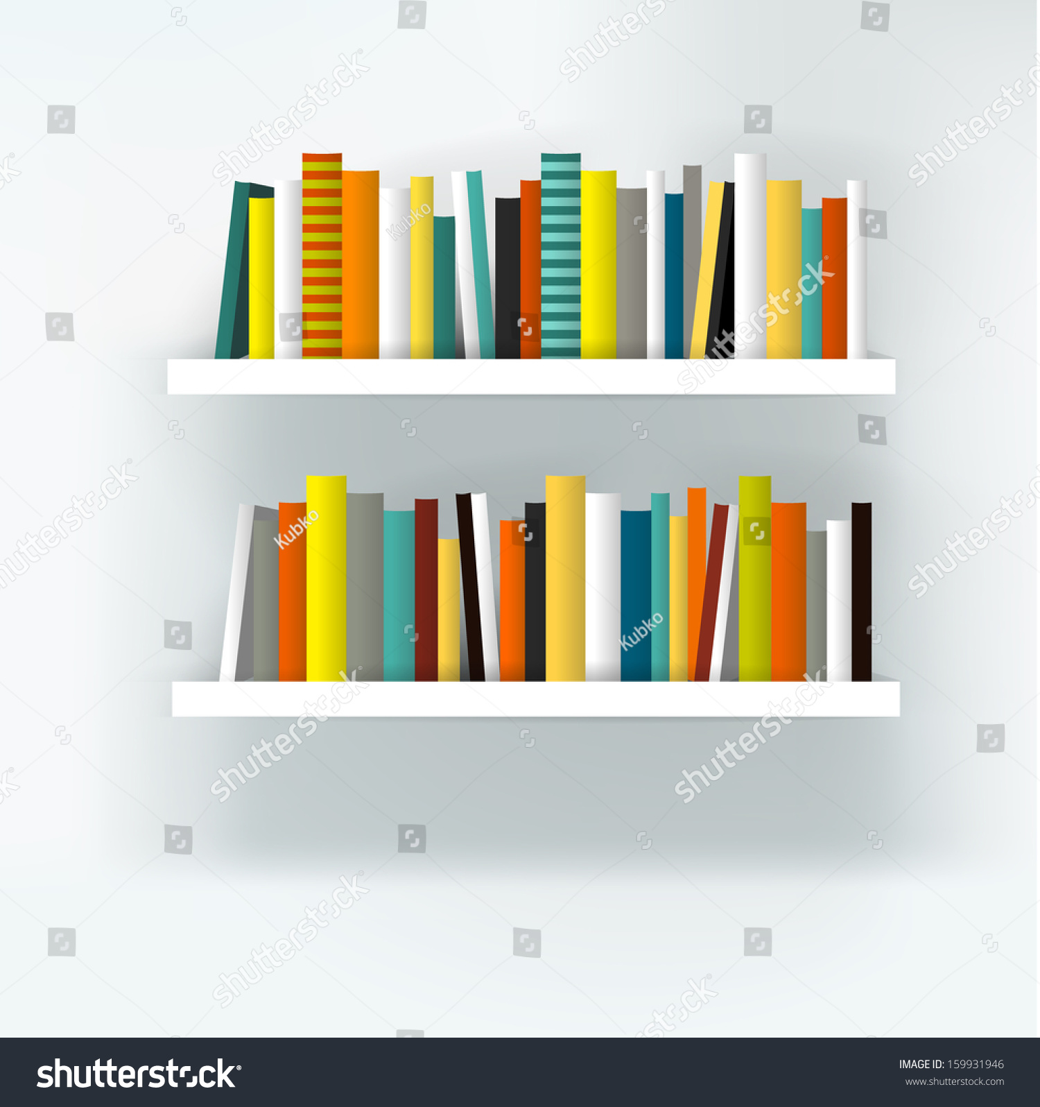 Book shelf interior  Modern furniture design isolated on white  Vector  illustration  Art background. Book Shelf Interior Modern Furniture Design Stock Vector 159931946