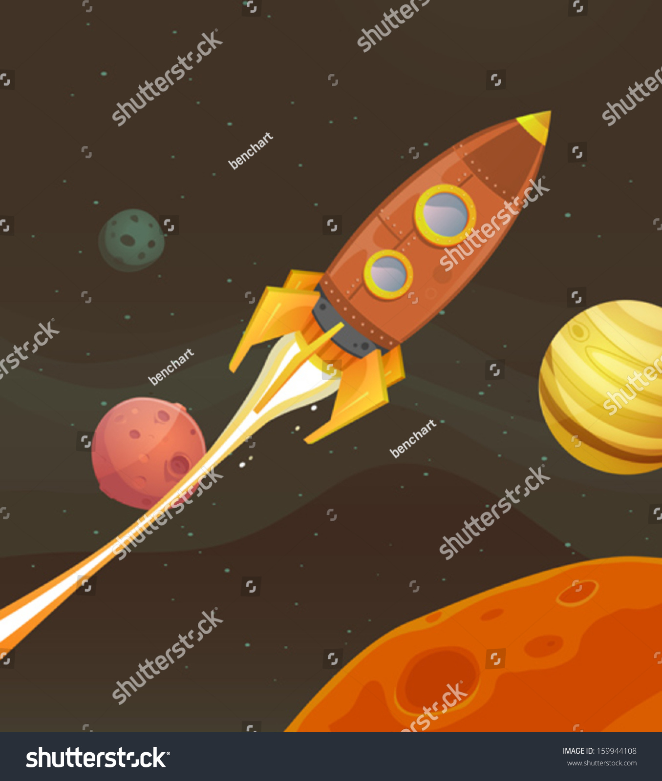rocket ship flying through space illustration stock vector