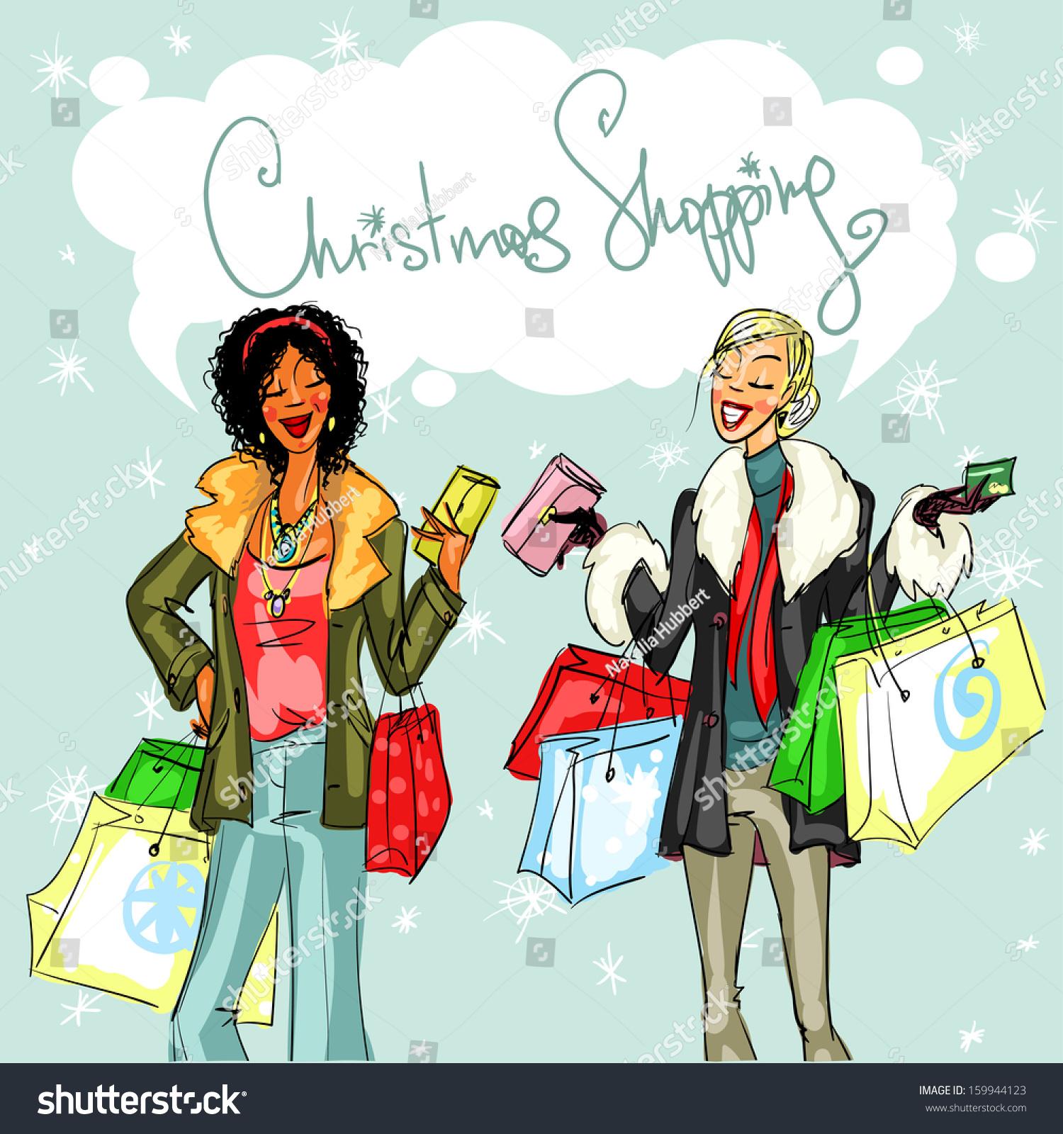 Happy Women Shopping Bags Christmas Shopping Stock Vector