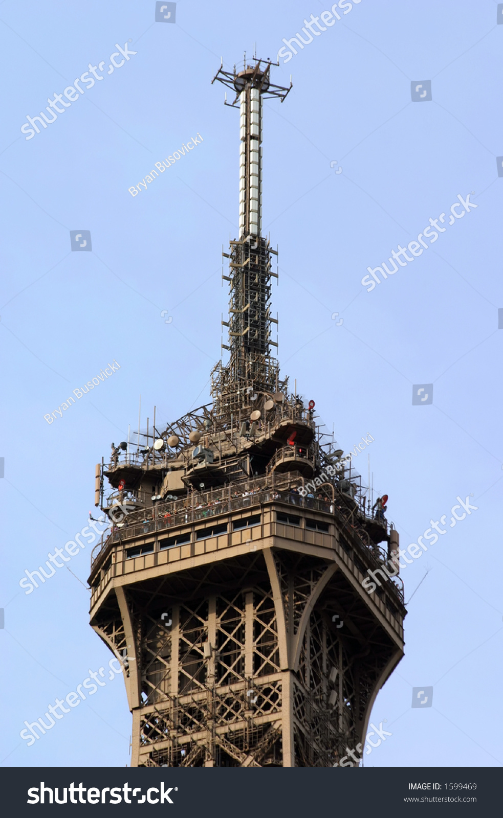 Radio And Tv Antenna At The Top Of The Eiffel Tower In Paris France Stock P