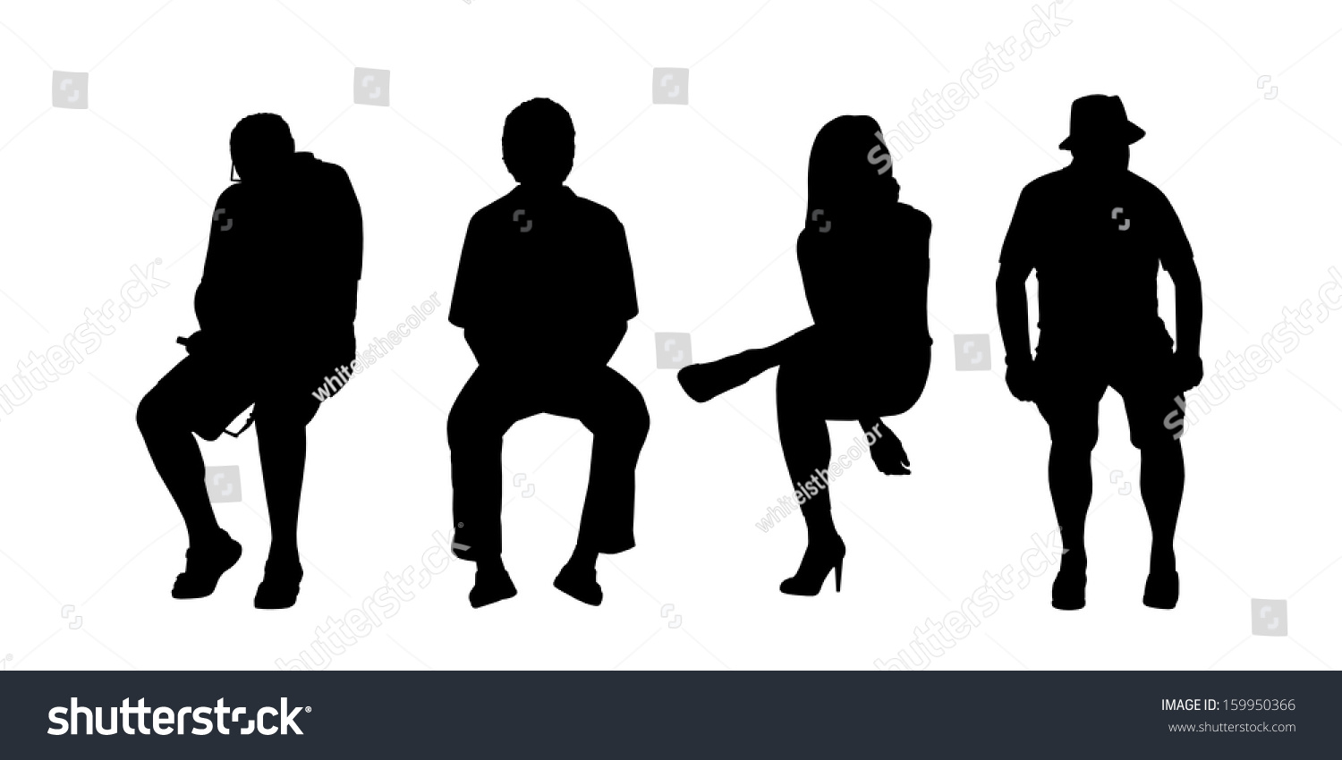 black silhouettes people different sex age stock illustration
