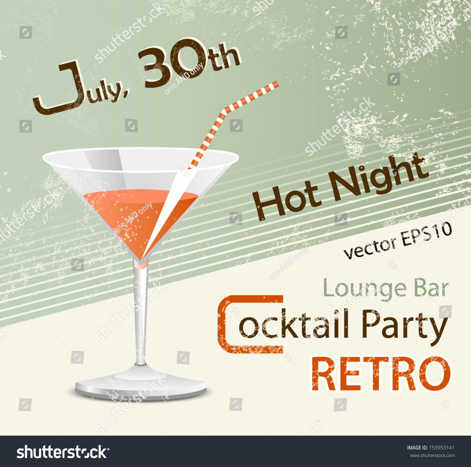 Retro Party Poster Design Cocktail Glass Stock Vector ...
