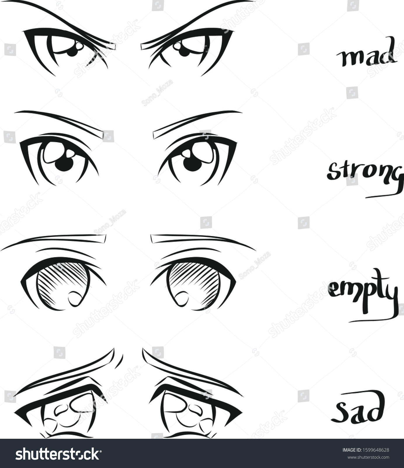 Cute Anime Girl Eye Collections Set Stock Vector (Royalty Free
