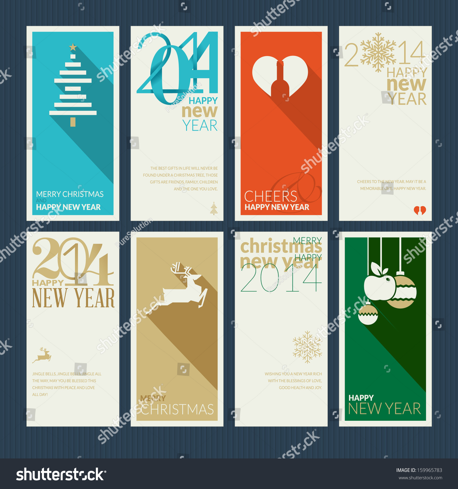 Set Christmas New Year Greeting Cards Stock Vector Royalty Free