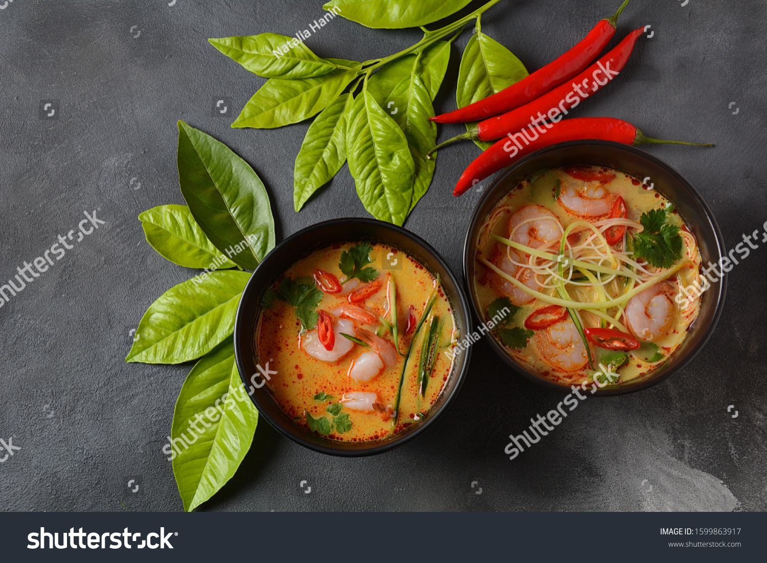 Laksa Soup Malaysian Coconut Curry Soup Stock Photo Edit Now 1599863917